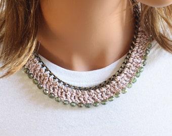 Crochet Necklace- Textile Necklace - Yarn Necklace - Celebrity Inspired - Statement Necklace - Tassel Bracelet- Beach Necklace