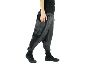 Unisex Pants Funky  Chic Harem Contrast Waist & Side Dark Heather Gray Cotton Jersey Pants With 2 Patched Pockets And Elastic on Back Waist