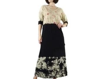 3/4 Sleeve Bird Floral Printed & Black Tie Dye Maxi Dress Women Sun Dress With Drawstring Waist