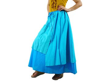 3 Color Tone Skirt...Triple Layered Blue Tone Light Cotton Lawn Skirt With 1 Patched Pocket - Size 10 To Size 18