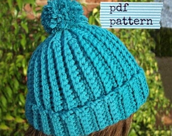 Crochet Beanie PATTERN, Crochet hat pattern, Easy crochet pattern, Easy Ribbed Beanie pattern (C107) - Toddler, Child, Adult sizes