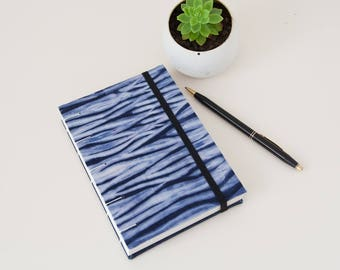 Unlined Journal - Eco Paper Blank Page Journal Handmade with Shibori Fabric Cover