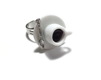 Coffee Cup Ring, Coffee Ring, Tea Cup Ring, Food Ring, Gift, Gift for Her, Under 10 dollars, Coffee, Weird,