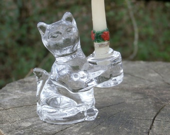 Miniature Glass Cat Candle Holder, Standing Kitten Holds Candle, Vintage