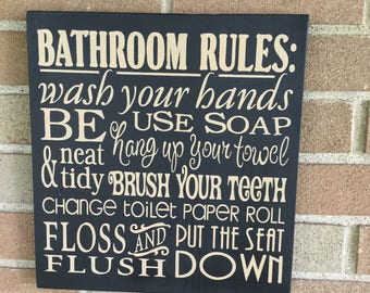 "BATHROOM Decor/Bathroom Rules Sign/Black/Home Decor/ Wood SIGN/Primitive Sign/Rustic Decor/Country/DAWNSPAINTING/12"" x 12"""
