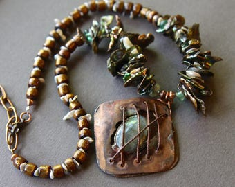 Caged Labradorite Pendant Necklace Rusty Copper Cage w Large Grey Green Copper Cornflake Pearls and Gold Coral Gemstone Jewelry