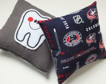 Blue Jackets Tooth Fairy Pillow, Columbus Blue Jackets, Hockey Fan Gift, Tooth Fairy Pillow, Gift for a Boy, Tooth Pillow