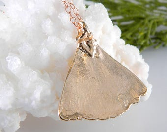 Rose Gold Dipped Gingko Leaf Necklace, Real Leaf Pendant, Rose Gold Necklace