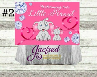 Elephant Themed Baby Shower Candy Table Backdrop (Digital or Print.) 4ft H x 6ft W