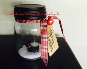 Winter Scotty Mason Jar Snow Globe