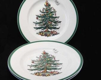"Spode England Christmas Tree Dinner Plates(3) 10-5/8"""