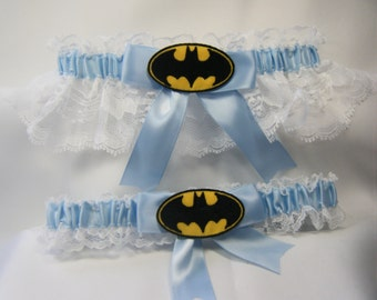 Handmade Batman wedding garters white lace and light blue garter