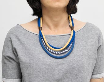 Textil necklace, Multistrand necklace, FABRIC necklace, fabric jewelry, fashion gift ideas, textile necklace, spring necklace, blue necklace