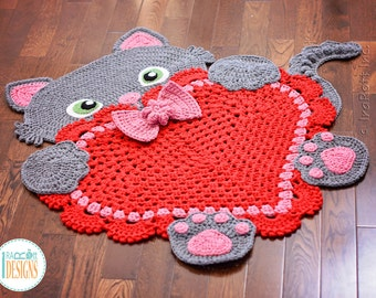 NEW PATTERN Sassy the Kitty Cat Heart Rug PDF Crochet Pattern with Instant Download