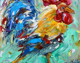 Happy Rooster painting original oil 6x6 palette knife impressionism on canvas fine art by Karen Tarlton