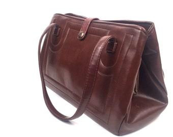 Vintage 1950s Brown Faux Leather Handbag