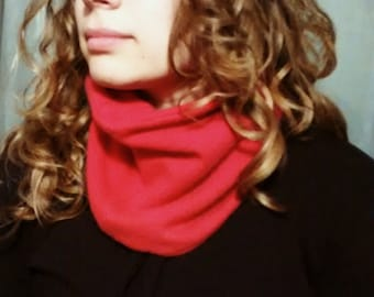 Cashmere cozy neckwarmer, tube scarf, reversible, one size, watermelon red, womens