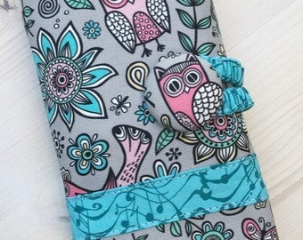 Owls & Musical Notes Crochet Hook Case  Spill Proof  Sewn in Zipper Pocket Clay Amour Soft Grips - Grey Pink Aqua