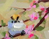 Goldcrest Kinglet no. 27 Original Bird Oil Painting by Angela Moulton 6 x 6 inch pre-order