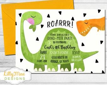 Dinosaur Invitation, Dinosaur Birthday Invitation, Dinosaur Party Invitation, Boy's Dinosaur Party, Watercolor Dinosaur Invitation, digital