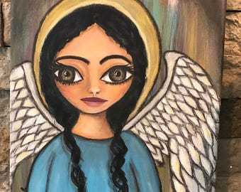 Primitive Folk Art Painting OOAK Angel home decor big Eye hand painted collectible whimsical  religious spiritual ORIGINAL