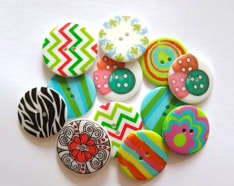 10 pcs Mix Pattern Graphic Printed Retro Buttons 35mm and 38mm 2 Holes