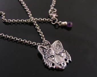 Wolf Pendant Necklace, Wolf Jewelry, Wolf Head Necklace, Wolf Pendant, Wolf Necklace, Amethyst Necklace, Australian Shops, Aussie Sellers