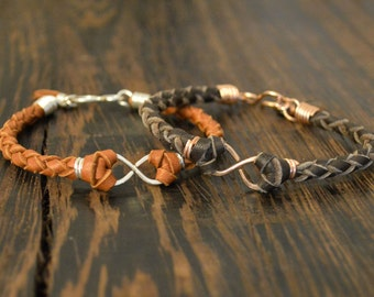Hers and Hers Infinity Bracelet Set - Rose Gold or Sterling Silver with Leather Colors