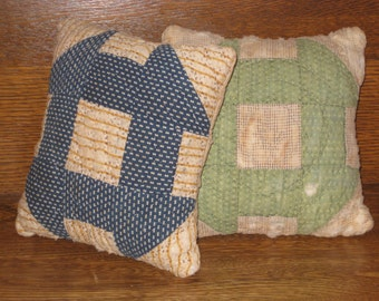 2 Antique Quilt Pillows Set Early Fabrics Old Calico Cotton Hole In The Barn Door Block Indigo Blue Pindot Vintage Gifts