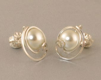 White Pearl Sterling Silver Post Earrings, Unique Pearl Wedding Jewelry, Asymmetrical Pearl Wire Wrapped Stud Earrings Jewelry