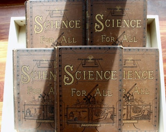 1800s 'Science for All' Set Edited by R. Brown Profusely Illustrated - Complete Set of All 5 Volumes