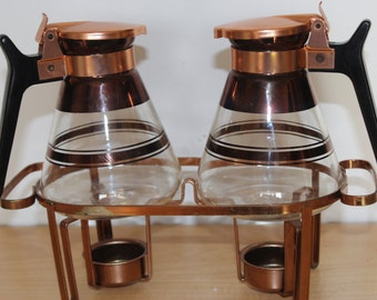 MCM Coffee Warmers for Two - Coppertone Bronze Glass Carafes - Uses Tea Candles - Mid Century Modern Romantic Table Setting Barware
