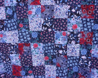 Blue Roses Queen Bed Quilt