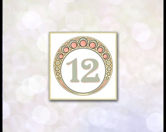 Art Nouveau Table Numbers / Mucha / Gatsby Wedding / Art Deco / Coral & Green / Matching Invitation Suite Available / Self Print DIY