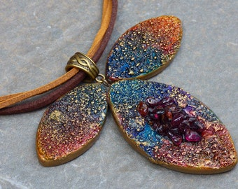 Rustic polymer clay pendant