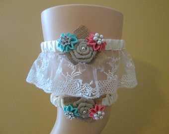 Coral & Aqua Blue Wedding Garter Set, Teal and Coral Garters, Ivory Lace Garter, Rustic Garter, Something Blue, Country Bride