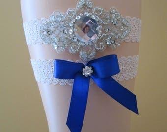 Royal Blue Wedding Garter Set, Something Blue Garter w/ Blue Bow, Ivory Lace Garter, Champagne Bridal Garters, Country- Rustic Bride