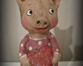 Little Piggy - OOAK art doll- paper mache- folk art- Valentine