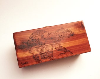 Wooden Gift Box for Father, Custom  Message, Decorative Box Lid, Bear, Wood Burned, Wood JewelryBox, Solid Wood, Cedar, Brass Hinged Box