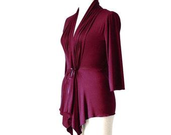 Womens clothing, Plus size top XL, XXL, 3XL cardigan, Long sleeves wrap cardigan, Wrap top/shirt, Custom clothing, Burgundy cardigan/top