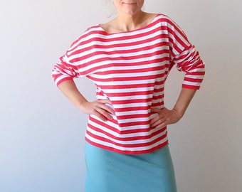 Casual blouse, Striped top, Casual long sleeve loose top, Nautical top, Red and white stripes top, Handmade loose shirt, Plus size clothing