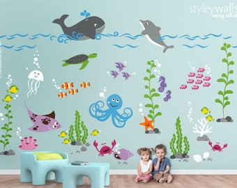 Underwater Wall Decal, Ocean Wall Decal, Aquarium Wall Decal, Sea life Creatures Wall Decal, Fishes Wall Decal, Nursery Playroom Wall Decals