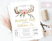 Printable Bachelorette Invitation, Printable, Hens Night Invite, Boho Chic Invitation, Boho, Antler Bridal Shower Invite, jadorepaperie