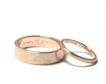 Rose gold wedding bands, his and hers wedding ring set, gold rings, 10kt gold