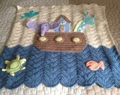 Noah's Ark Baby blanket, Shower gift for a baby boy or girl, Noah's Ark Nursery decor, Religious Baby Gift, Wall Hanging For The Nursery,