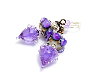 Purple Lampwork Bead Earrings. Easter Spring Earrings. Dotted Beads. Violet Lavender Artisan Headpins. Gifts For Her. Glass Bead Jewelry.