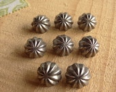 "8 Vintage Pewter Shank Buttons. 1/2"" (13mm) button. Dome, Shank, Starburst, Pumpkin, Costume Buttons B34"