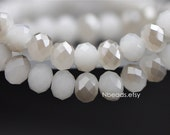 70 beads- Crystal Glass Faceted Rondelle beads 6x8mm, White Grey Sparkle (#BZ08-118)