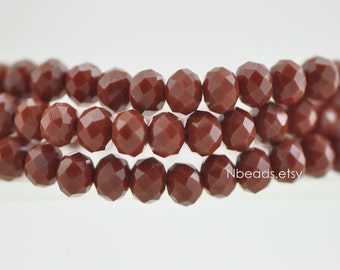 95pcs Glass Crystal Faceted Rondelle Beads 4x6mm Opaque Rust Red- (BZ06-138)