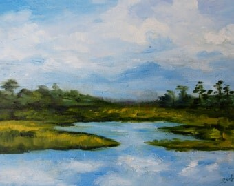Modern Impressionist Original Oil Bald Head Island Marsh View Landscape Painting by Rebecca Croft